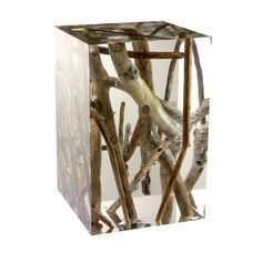 Side table KISIMI - Acrylic glass with driftwood branches
