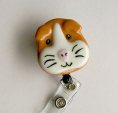 Retractable Badge Holder Fused Glass Guinea Pig by CDChilds, $22.00