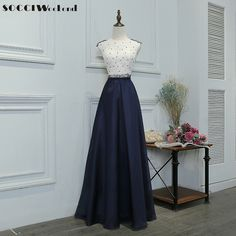 SOCCI Weekend Long Evening Dress 2017 Navy and White Patchwork Elegant  Pearls Beading Romance Ankle Length Lace Formal Dresses-in Evening Dresses  from ... 7fb61462b63b