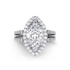 Danhov Carezza Double Shank Marquise Diamond Engagement Ring