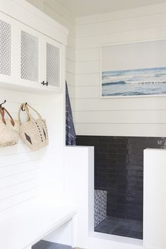 """Mudroom Pet Shower We added a """"doggie shower"""" which we use to rinse off when we come home from the beach With two kids, this little shower is a huge blessing #Mudroom #PetShower"""