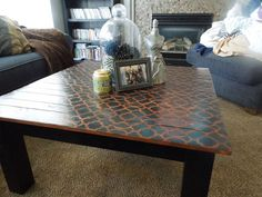 Built this square coffee table stained the top and then did matching black stencil to match the black base. Stencil Table Top, Stenciled Table, Stained Table, Furniture Update, Black Table, Office Ideas, Home Projects, Stencils, Clever