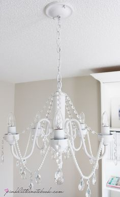 DIY Before and After: White Chandelier With Crystals and Pearls diy before and after white chandelier with crystals and pearls, lighting, painting Shabby Chic Kitchen, Shabby Chic Homes, Shabby Chic Decor, White Chandelier, Chandelier Crystals, Solar Chandelier, Painted Chandelier, Iron Chandeliers, Beaded Chandelier