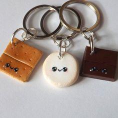 Smores Best Friends Keychains  Three Best by PitterPatterPolymer