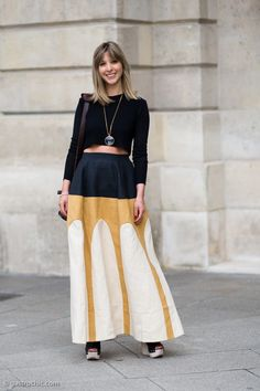 Pinned from Gastro Chic: How to wear crop tops this fall: long sleeved, with maxi skirts #streetstyle #fashion #croptops