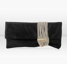 Jimmy Choo Chandra Black Shimmer Suede Clutch with Mesh Chain