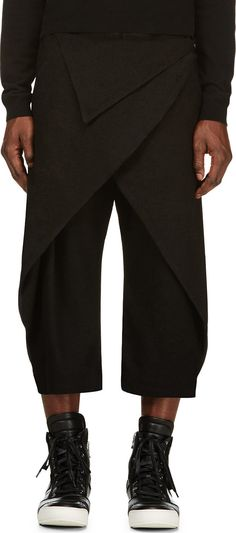 D.Gnak by Kang.D - Black Folded Overlap Trousers | SSENSE