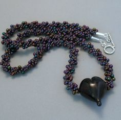 Kumihimo Beaded Necklace with Handmade Lampwork by FormedInFire  love these colors