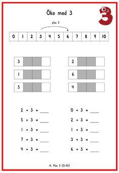 +3 Learn Swedish, Math Addition, Teaching Materials, Fun Math, Kids Learning, Cool Kids, Teacher, Funny Images, Montessori