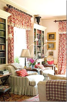 French country living room. dark red and ivory print draperies. Custom draperies of this style are available from DesignNashville.com.  There is no charge to plan a drapery using any of our featured fabrics.
