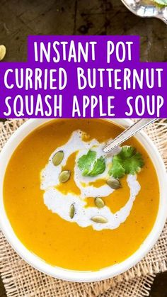 Vegetarian Soup, Vegan Soup, Vegetarian Recipes, Healthy Soup Recipes, Veggie Recipes, Whole Food Recipes, Gluten Free Soup, Gluten Free Diet, Butternut Squash Apple Soup