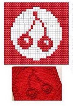 Cherry Knit Dishcloths Pattern