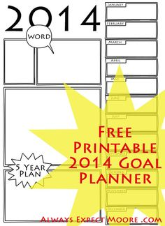 Free Printable 2014 Goal Planner - write in your goals, color it in, and plan on an awesome 2014!