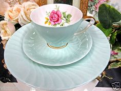Queen Anne Tea Cup and Saucer Trio Pink Roses Pattern Teacup