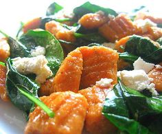 sweet potato gnocchi with spinach and goat cheese