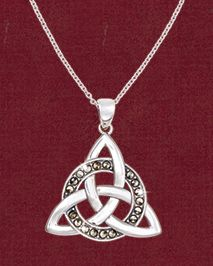Only at GaelSong! A meditation on the eternal, this trinity knot interweaves with a circle of marcasite, for a more complex contemplation of love, truth and all that endures through time. - Encircled Trinity Knot Pendant