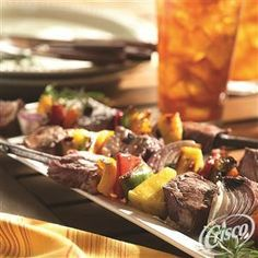 Grilled Beef and Vegetable Kabobs from Crisco® is a grilling season staple!