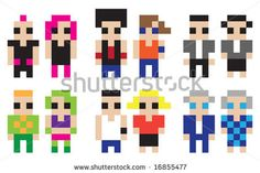 stock photo : Digital characters The set of pixelated icons with different people characters. Hi-resolution illustration.