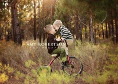 Fun idea to use a trike like this!  Too cute.  125+ Family and Sibling Photos to Get Posing Ideas and Inspiration.  #pose #brothers #photography #harvardhomemaker