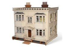 Large Victorian Style Dolls House, with a cream painted exterior, two floors with bay windows, co