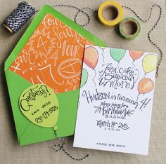 Hudson's Hand Lettered Birthday Party Invitations