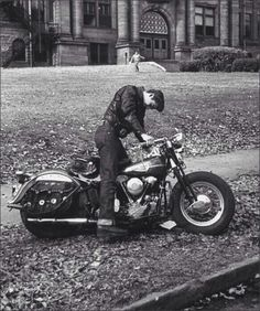 Vintage greaser on motorcycle