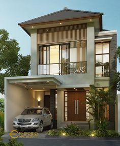 Utomo Private House Design - Jakarta- Quality house design of architectural services, experienced professional Bali Villa Tropical designs from Emporio Architect. House Arch Design, Unique House Design, Minimalist House Design, Simple House Exterior Design, Model House Plan, House Plans, Modern Filipino House, Modern Apartment Design, Modern Bungalow House Design