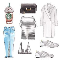 Good objects - Monday outfit #denim #stripes #cosstores #grey #starbucks #goodobjects