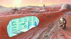Mars needs humans: Why the red planet is the 'logical next place.'  An artist's conception of a human Mars base, with a cutaway revealing an interior horticultural area