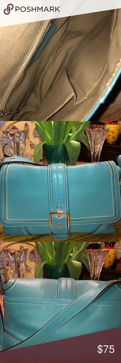 Coach Purse Coach leather bag Turquoise with front buckle snap and back zippered pocket  Very good used condition Coach Bags Shoulder Bags