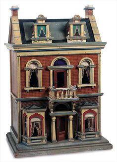 View Catalog Item - Theriault's Antique Doll Auctions - german wooden and lithographed dollhouse
