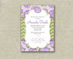 Baby Shower Girl Invitation Invite Lavender Lilac by girlsatplay, $12.00