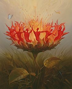 """Set your life on fire.  Seek those who fan your flames.""  ~Rumi    What are your plans for the new year? Who are you surrounding yourself with?    (""Fiery Dance"" art from Vladimir Kush - http://vladimirkush.com/fiery-dance)"