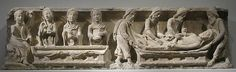 Lintel with the Entombment of Christ (right) and the Holy Women and Angel at the Sepulchre (left), ca. 1220-1230, with modern recarving. French. The Metropolitan Museum of Art, New York. The Cloisters Collection, 1939. (39.82)