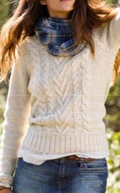 fitted cable knit  sweater + jeans + plaid scarf