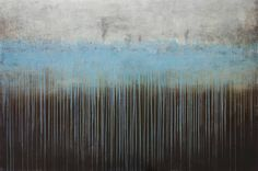 """Drips Like IV,"" abstract blue and grey painting by artist David Fredrik Moussallem available at Saatchi Art #blue"