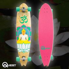 """42"""" Yoga Quest Natural Bamboo & Maple Longboard with cushy one of a kind Yoga Mat Grip that begs to be ridden barefoot!"""