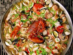 Paella on the Grill recipe from Bobby Flay via Food Network. After eating this amazing and extravagant meal... check out PUSH BUTTON FITNESS: http://Fitness.TheDePinas.com