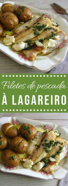 Hake Fillets A Lagareiro Food From Portugal - Want To Innovate And Give A Traditional Touch To A Fish Recipe Try To Make Our Recipe Of Hake Fillets A Lagareiro Fillets That Goes To The Oven With Potatoes Drizzled With A Delicious O Hake Recipes, Fish Recipes, Seafood Recipes, Cooking Recipes, Healthy Recipes, Food C, Good Food, Portuguese Recipes, Food Goals