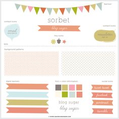 Sorbet Blog + Web Kit Elements...matching brand-in-a-box kit (business cards, tags, etc.) also available.  {Dear Miss Modern Design Shop}