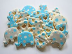 baby elephant cookies with polka dots