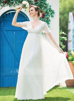 Empire V-neck Floor-Length Chiffon Wedding Dress With Beading Pleated (002042302) - JJsHouse