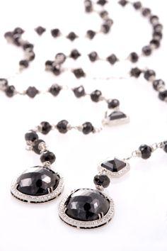 Platinum and Diamond Black Diamond Lariat Necklace by @Erica Cerulo Courtney