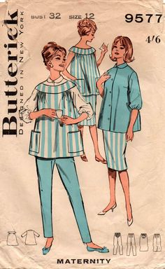 Butterick 9577 Womens Retro Maternity Top Blouse Skirt & Pants 60s Vintage Sewing Pattern Size 12 Bust 32 inches