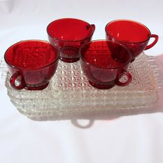 Royal Ruby Red Cups Crystal Trays Anchor Hocking Glass 4 Snack Sets