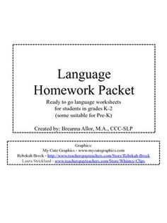 PreK-2 Full School Year Language Packet. Targets multiple language concepts - 60 pages all in black and white. Perfect for homework or quick warm-up activities for a speech session.