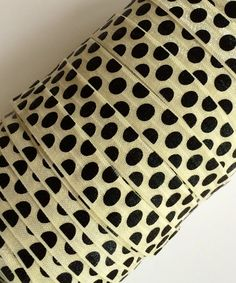 Black Polka Dots on Ivory Cream 5/8 Fold by PinkSunshineSupplies, $1.25