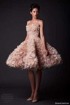 krikor jabotian fall winter 2014 2015 amal short floral petal wedding dress pink blush