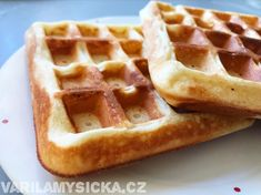 Jogurtové vafle Sweet Recipes, Healthy Recipes, Food Inspiration, Cooking Tips, Waffles, Food And Drink, Health Fitness, Low Carb, Sweets
