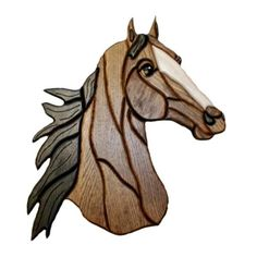Intarsia Wood Horse Head Hanging Wall Plaque 15 x 15 (SCWN249) ...